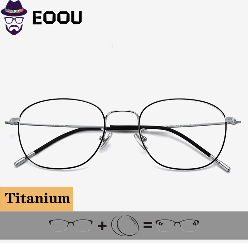 Oval armacao de oculos Titanium Glasses Frame Men Women Full lunette de vue femme Eyeglasses Optics Prescription image