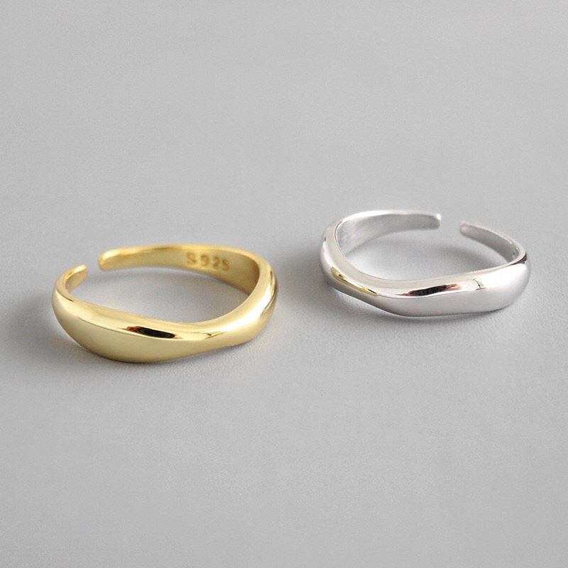 100% 925 Sterling Silver Open Ring for Women INS Minimalist Irregular Wave Pattern Gold Color Jewelry Bijoux Birthday 1