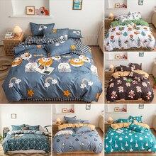 Girl Bedding Duvet-Cover Linens-Set Bed-Sheet Cyan King Queen Cute Pillow-Case Home-Textile
