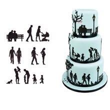 11 pçs/set tema família cortador de biscoito molde bolo de chocolate molde de impressão molde de corte de biscoito molde de cozimento decoração do bolo ferramentas de molde