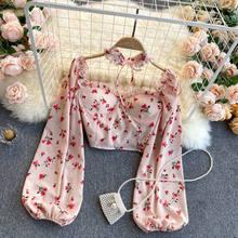 2021 nova sexy feminina topos gótico floral impressão elegante chiffon blusa camisas de manga longa rosa senhora colheita roupas