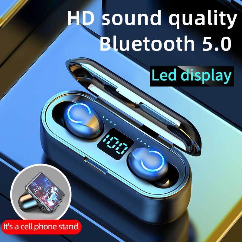 Mini TWS Bluetooth 5.0 Earphone Nirkabel Headphone 9D Hi Fi Stereo Olahraga Tahan Air Nirkabel Earphone Headset dengan Mikrofon