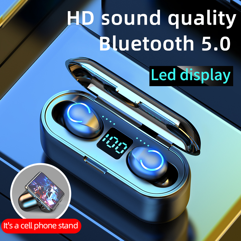 מיני TWS Bluetooth 5.0 אוזניות אלחוטי אוזניות 9D Hifi סטריאו ספורט עמיד למים אלחוטי אוזניות אוזניות עם מיקרופון