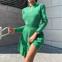 Sampic 2021 conjunto de saia plissada de malha feminina sexy manga longa camisa magro topos e cintura alta mini saia vestido de duas peças conjunto