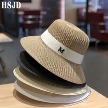 Hats For Women Women's Sun Hat Female Summer M Letter Straw Hat Anti-UV Beach Visor Caps