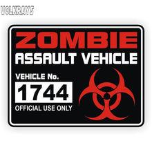 Volkrays moda carro adesivo zombie assalto acessórios de licença do veículo capa arranhões pvc decalque para prius lacetti, 11cm * 15cm