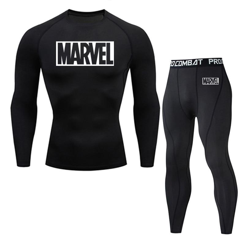 2 Piece Tracksuit Men Compression MMA Long sleeve t shirt Rashgard kit Fashion Sweatshirt+leggings Fitness Thermal underwear