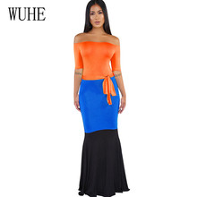 WUHE Summer Boho Long Maxi Dress Sexy Off Shoulder Bodycon Bandage Women Pencil Femme Fashion Patchwork Vintage Dresses