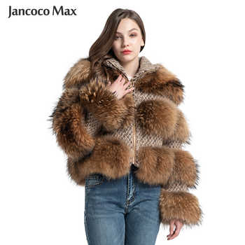 Jancoco Max Real Raccoon Fur Jackets Female Fashion Natural Fur Coats Long Sleeve Winter Women Overcoat S7458 - DISCOUNT ITEM  49 OFF Women\'s Clothing