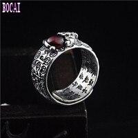 S925 sterling silver fashion jewelry enamel ring male Thai silver vintage inlaid garnet new man's silver ring