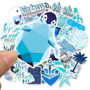 Image 2 - 50 sztuk Cartoon niebieski VSCO naklejki dla dzieci zabawki wodoodporna naklejka na DIY walizka Laptop kask rowerowy naklejki na samochód F4