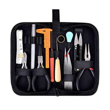 19Pcs Monili Che Fanno Tools Kit con la Chiusura Lampo di Caso di Immagazzinaggio per Gioielli di Crafting e di Riparazione Dei Monili