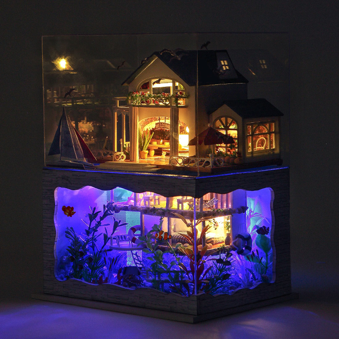 DIY Creative Handmade Theme Wooden Cabin Assembly Building Model Toy Set With Light And Dust Cover - Impression Hawaii
