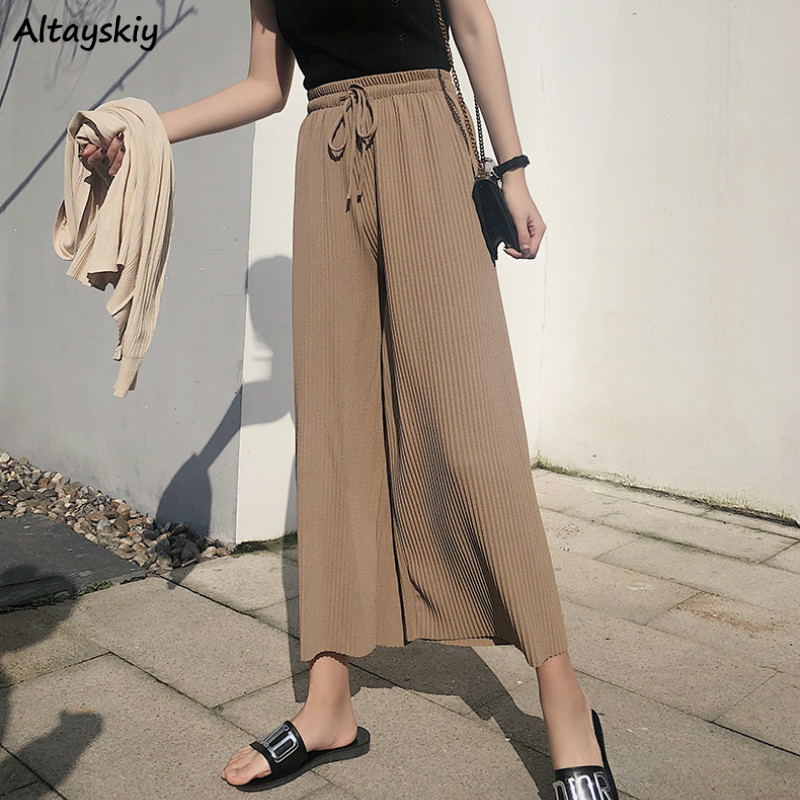 Capris Women Elastic Casual Solid Simple Loose Trousers Womens All-match Trendy Straight High Waist Pants Females Trousers Chic