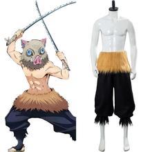 Аниме демон убийца киметсу нет яиба хашибира Inosuke косплей костюм брюки пояс Хэллоуин