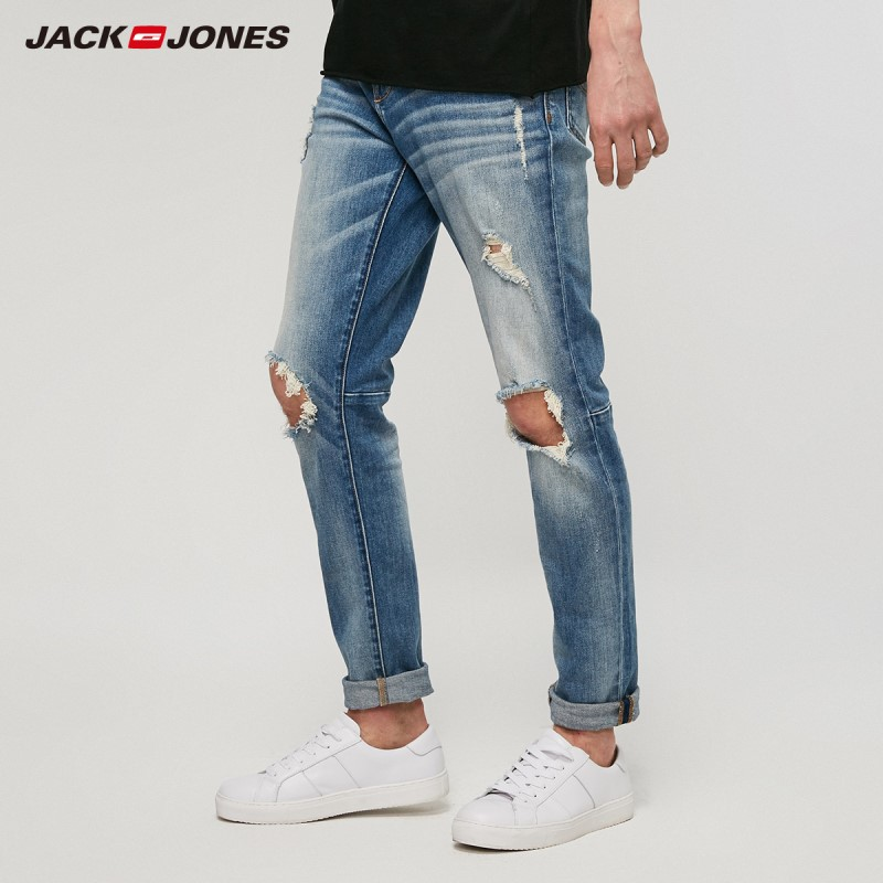JackJones Men's Street Distressed Skinny Jeans Ripped Hole Pants Menswear 219132603