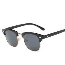 Men UV400 Sunglasses Men Women Luxury Vintage Semi-Rimless Brand Designer Fashio