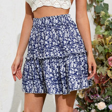Mini Skirts Short Floral-Printing Girls Female High-Waist Fashion Women Bow Leaf Split