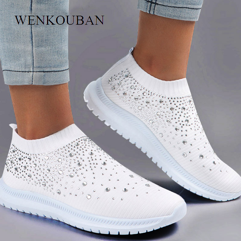 Summer Sneakers Women Sock Shoes Crystal White Sneakers Casual Slip On Flats Ladies Trainers Walking Shoes Basket Femme 2020