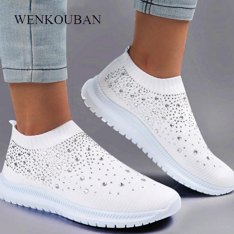 Summer Sneakers Women Sock Shoes Crystal White Sneakers Casual Slip On Flats Ladies Trainers Walking Shoes Basket Femme 2020