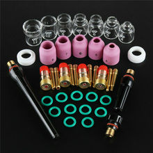 41pcs TIG Welding Torch Stubby Gas Lens Ceramic Nozzle Heat Resistant Glass Cup Kit For WP17/18/26 2.4mm 3/32