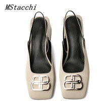 MStacchi Metal Decoration Square Toe Pumps Women Genuine Leather Low Heel Shoes Woman Sexy Sandlas Calzado Mujer Plus Size 34-43