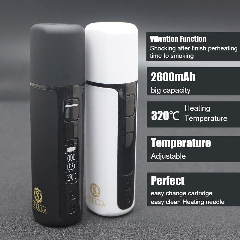 Aquecimento stella j1 kit 2600 mah calor não queimar e-cigarro vaporizador lcd vape tc mod para aquecimento cartucho de tabaco cigarro seco