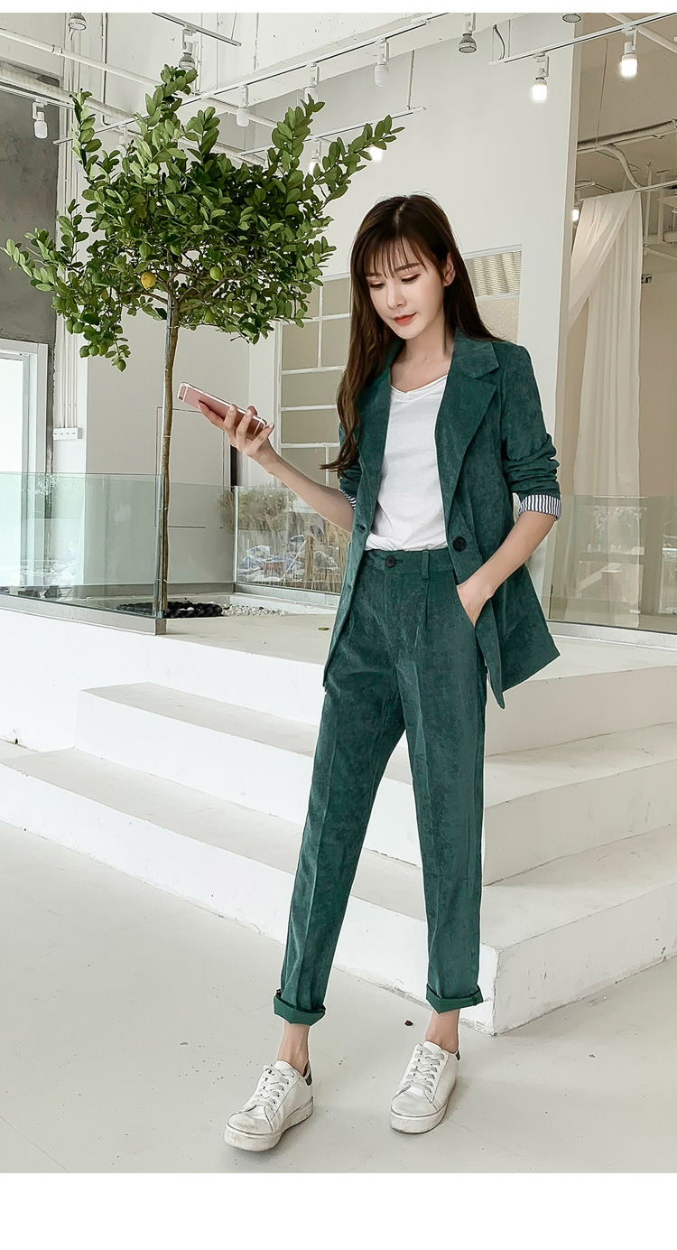 Autumn Winter Blazer Pants Suit Women Korean Chic Fashion Office Ladies Green Corduroy Casual High Waist Small Feet Pants Suit 56
