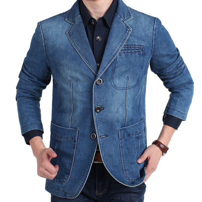 Fashion Mens Denim Blazer Spring Autumn Brand Male Slim Fit Casual Jeans Suit Jacket Men Blazer Coat Terno Masculino 4XL  MY161