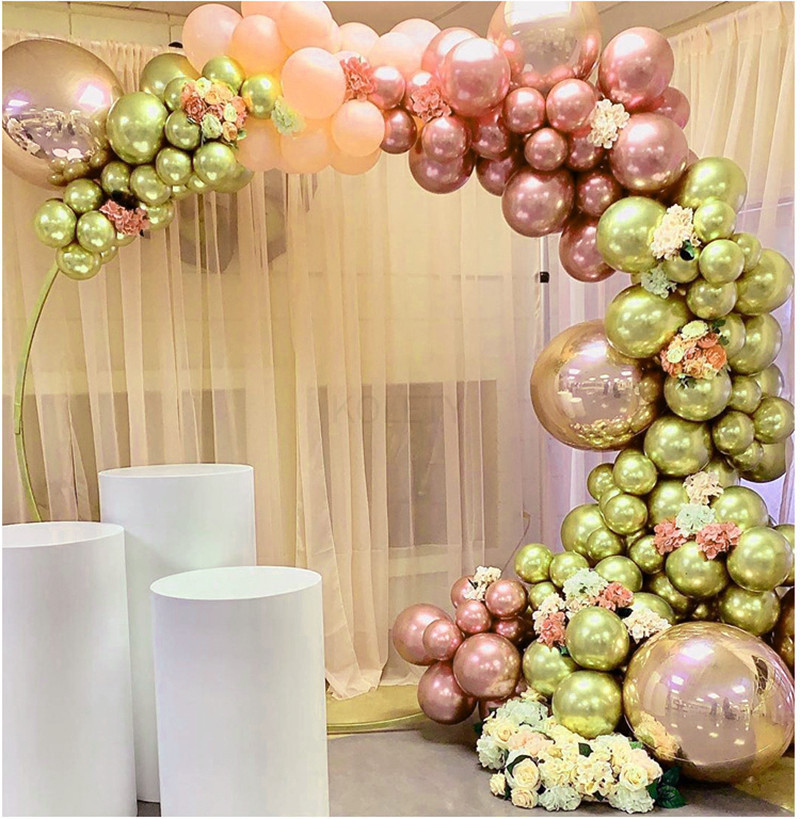 50 Pcs/lots Chrome Gold Rose Pastel Baby Pink Balloons Garland Arch Rose Balloon For Birthday Wedding Baby Shower Party Decor