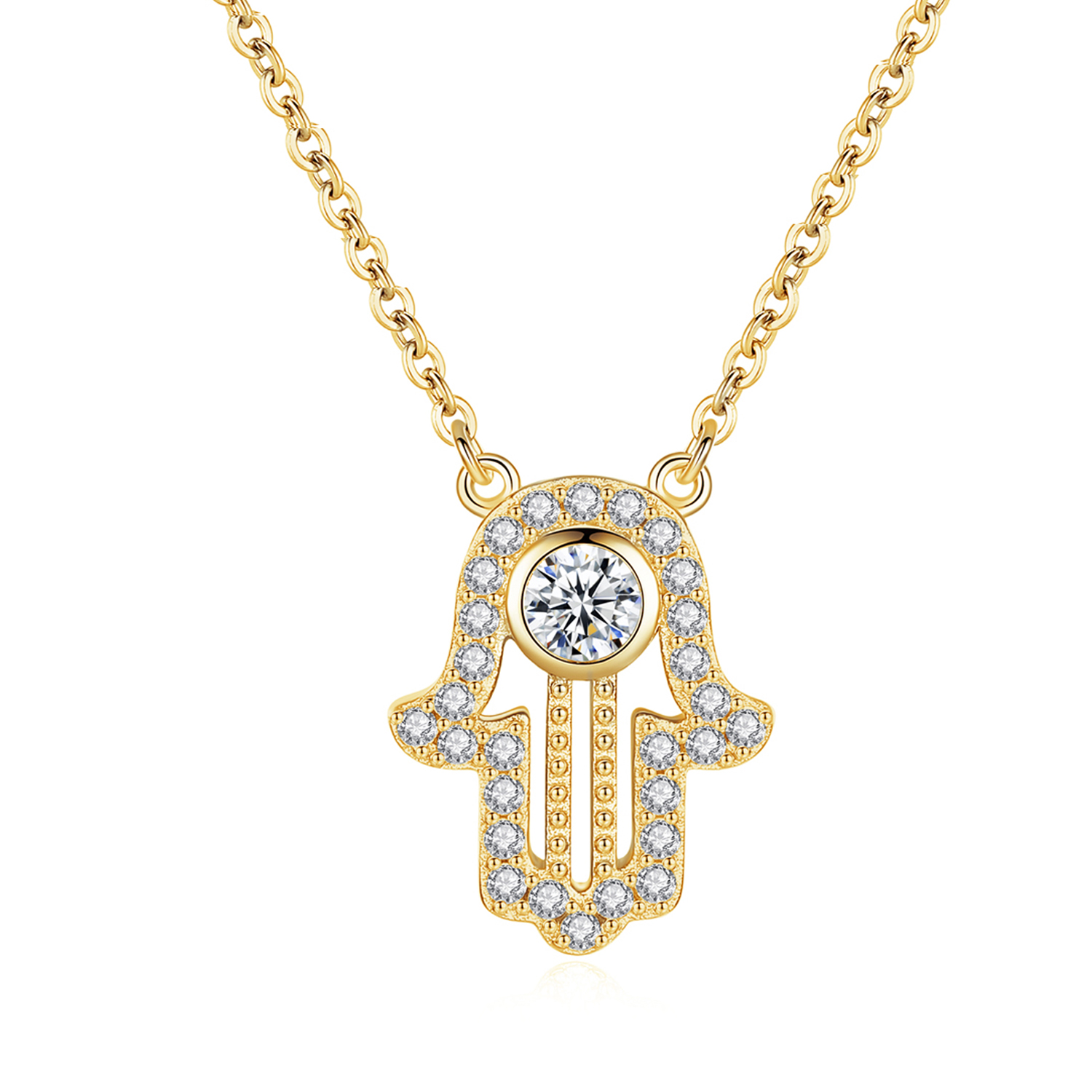 Image 2 - TONGZHE 925 sterling Silver Hand Hamsa Necklace Women Lucky Fatima Link Chain Long Initial Necklace Turkey Jewelry 2019 Choker-in Pendant Necklaces from Jewelry & Accessories