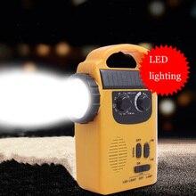 Portable Solar Powered AM/FM Radio with LED Flashlight Electronics Dynamo Automotive Hand Crank Emergency Camping Power Bank