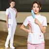 Women's Fashion Scrub Set Color Blocking Design Scrub Top + White Pants (Slim) Nursing Beautician Uniforms