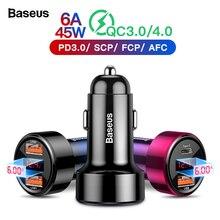 Baseus 45 Вт Быстрая зарядка 4,0 3,0 USB Автомобильное зарядное устройство для iPhone Xiaomi samsung QC4.0 QC3.0 QC type C PD Автомобильная Быстрая зарядка для мобильных телефонов