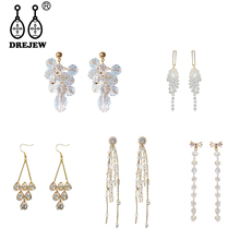 DREJEW Korean Fashion Long Tassel Crystal Gold Silver Statement Earrings 2019 925 Alloy Drop for Women Wedding Jewelry