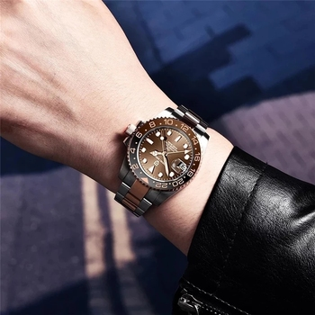 PAGANI DESIGN GMT 40mm Mechanical Wristwatch Men's Top Brand Stainless Steel Sports Waterproof Automatic Watch Relogio Masculino 4