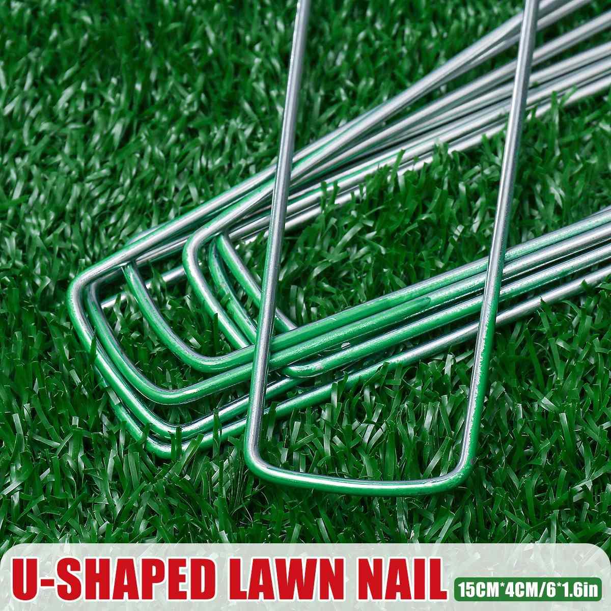 100Pcs/set Artificial Grass Turf U Pins Metal Galvanised Pegs Staple Weed Garden Hot-dip Galvanizing Gardening Accessories
