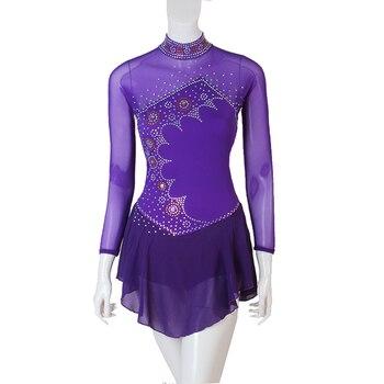 Figure Skating Dress Women girl Ice Skating Dress   Gymnastics Costume custom rhinestone navy blue B089