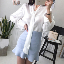 CINESSD The Sexy College Style Blouse Render Tops Women Autumn Cotton White Tassel Elegant Joker Shirt with Bowknot