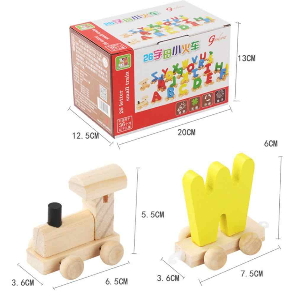 Crianças Trem De Brinquedo de Madeira com Letras Inglês Alfabeto Educacional Monte Brinquedo Do Bebê Material de Estudo para o Jogo de Linguagem