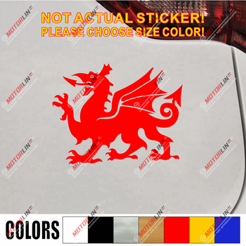 Wales Red Dragon Decal Sticker Welsh Y Ddraig Goch Car Vinyl pick size color e image