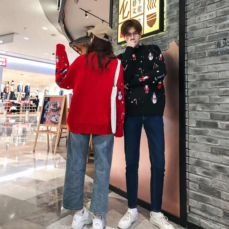 커플 스웨터 겨울 의류 여성 남성 크리스마스 의상 캐주얼 o-넥 풀오버 레드 블랙 긴 소매 한국 스웨터 2020new