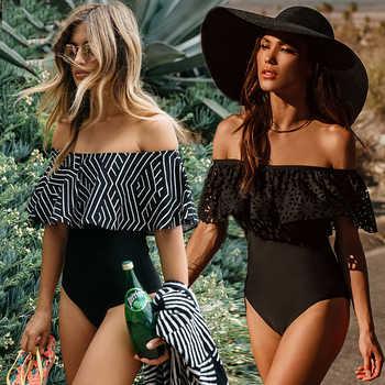 2018 nueva Sexy el hombro de baño las mujeres una pieza traje de baño mujeres traje de baño de traje de baño XL