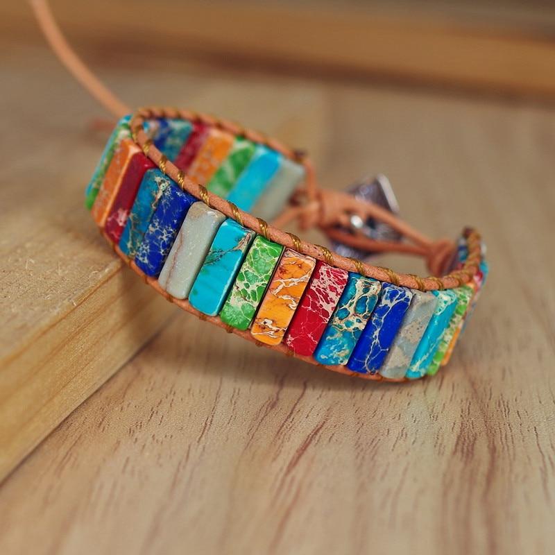 Натуральный камень ручной работы многоцветные Браслет Чакра Ювелирные изделия бусины-трубки кожа обёрточная Бумага браслет творческие по...