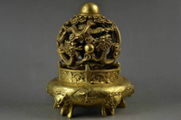 Collectable Old BRASS Carving Double Dragon & 5 Lion Head Rare Big Religion Incense Burner free SHIPPING