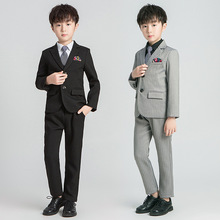 Children's Clothing Autumn Style Boy Gray Striped Small Suit Children's Dress Flower Boy Host Performance Suit