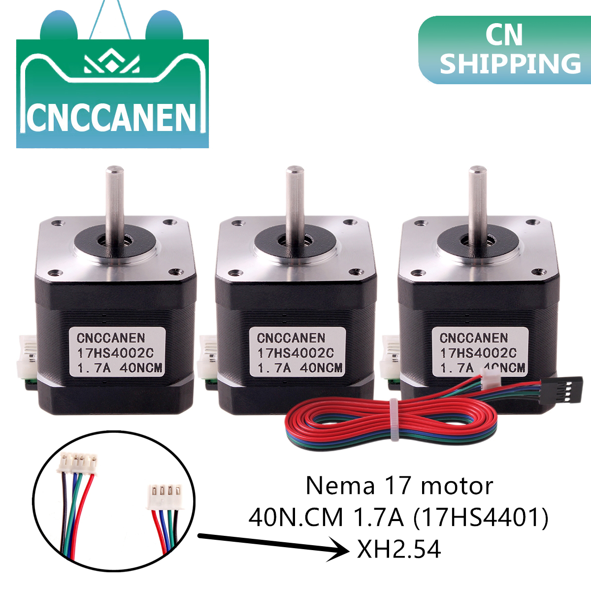 1/3/5PCS Nema17 Stepper Motor 42 Motor Nema 17 Motor 40mm 1.7A (17HS4401) Motor 4-lead For 3D Printer XH2.54