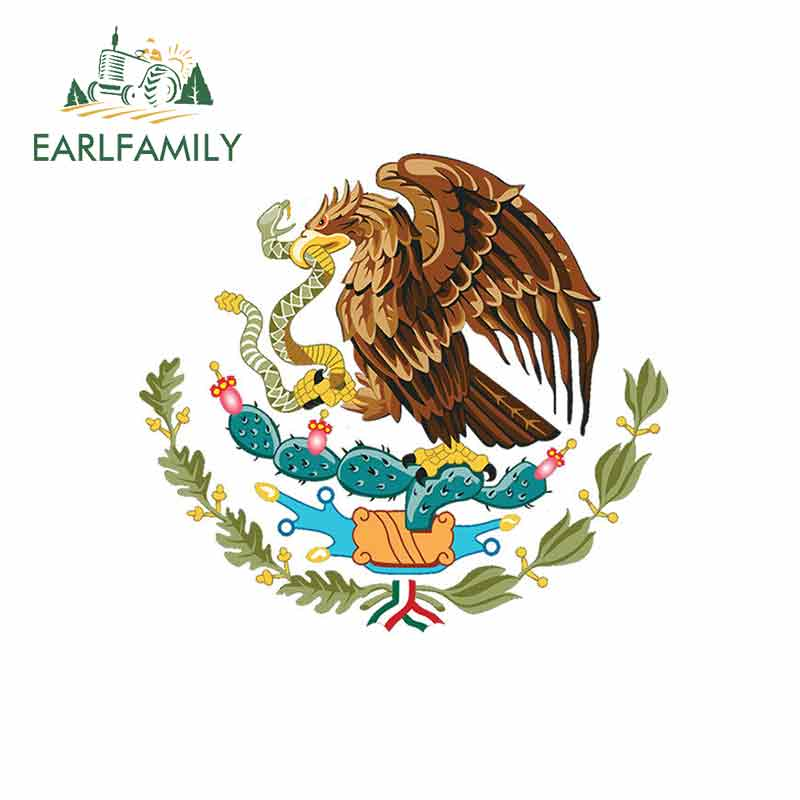 EARLFAMILY 13cm X 11.8cm For Mexican Coat Of Arms DIY Motorcycle Stickers Vinyl Car Sticker Fashion Waterproof SUV Decoration