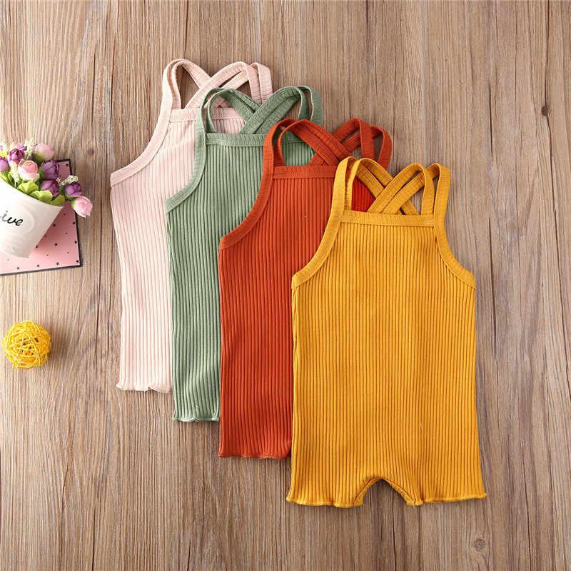 0-18 Maanden Pasgeboren Baby Meisje Jongen Romper Jumpsuit Katoen Zomer Backless Sling Mouwloze Casual Plain Playsuit Sunsuit Kleding
