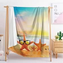 Летнее пушистое одеяло для кровати с морским пляжем роскошное